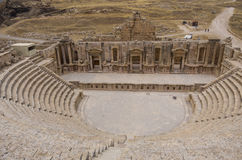 South Theater, Ancient Roman city of Gerasa of Antiquity , moder Royalty Free Stock Photos