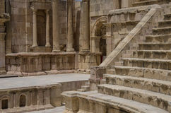 South Theater, Ancient Roman city of Gerasa of Antiquity , moder Royalty Free Stock Images
