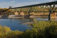 South Train Bridge in Saskatoon. The train bridge on the South Saskatchewan River stock photos