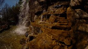 Man-made waterfall in the new park of the Turkish city of Adana stock footage