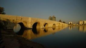 Old Rome Stone Bridge,built over 2000 years ago, the city of Adana summer sunny morning