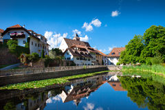 South Tyrol. Beautiful nature landscape of South Tyrol building with river royalty free stock photo