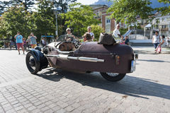 South tyrol classic cars_2015_Morgan three wheeler_sideview Royalty Free Stock Images