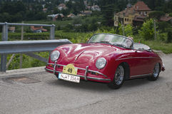 South tyrol classic cars_2014_Porsche 356 A Speedster. Schenna, Italy - July 10, 2014: traditional car racing event for classic old time cars  for several days Royalty Free Stock Images