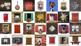 South Tyrol, collage of windows. Stock Images