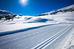 South Tyrol in winter. Cross country track in South Tyrol Royalty Free Stock Image