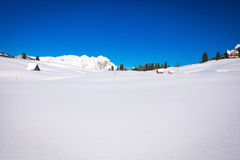 South Tyrol in winter. Winter landscape in South Tyrol with a lot of snow Royalty Free Stock Photography