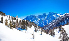 South Tyrol in winter. Winter landscape in South Tyrol with a lot of snow Stock Photography