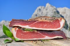 South Tyrolean bacon stock images