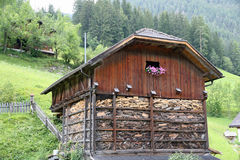 South Tyrolean House with flower and pitched roof Royalty Free Stock Photos