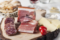 South tyrolean specialites. On wood royalty free stock photo