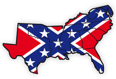 South united states with southern flag inside Stock Photography