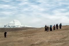 South view of sacred Mount Kailash also known as Gang Rinpoche or Kailasa stock photography
