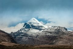 South view of sacred Mount Kailash at Tarboche 15,000 feet 4,600 meters stock photos