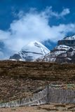 South view of sacred Mount Kailash at Tarboche 15,000 feet 4,600 meters royalty free stock photography