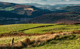 South Wales. Landscape of the South Wales Valley's, from Pontypridd to Merthyr and beyond to the Brecon Beacons dominating the horizon Stock Image