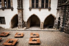 South wall of the Old Royal Palace in the Prague Castle complex, Czech Republic. Travel photography royalty free stock photography