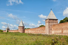 South wall three towers of Smolensk Kremlin Stock Photos