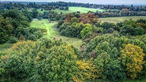 Birds Eye view of country park - drone Royalty Free Stock Image