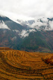 South-West China. Harvested terraces under mountain along Nujiang river, shot in Yunnan of China Stock Photos