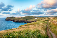 The South West Coast Path. As it approaches Doyden Point and Port Quin Stock Photo