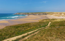 South West coast path Holywell Bay North Cornwall coast England UK near Newquay and Crantock Stock Photos