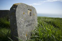 Free South West Coast Path Marker At Saint Aldheims Head Near The Square Chapel, St Alheims Head, Dorset, United Kingdom - 30th April Royalty Free Stock Photography - 120579077
