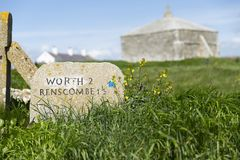 Free South West Coast Path Marker At Saint Aldheims Head Near The Square Chapel, St Alheims Head, Dorset, United Kingdom - 30th April Royalty Free Stock Images - 120579079