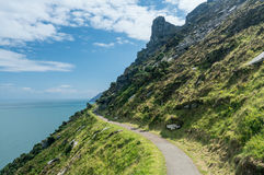 The South West Coast Path near Lynmouth. Coastline and ocean at Valley of the Rocks in North Devon, England Stock Photo
