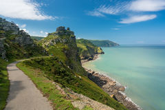 The South West Coast Path near Lynmouth. Coastline and ocean at Valley of the Rocks in North Devon, England Stock Photos