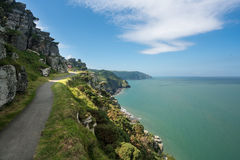 The South West Coast Path near Lynmouth. Coastline and ocean at Valley of the Rocks in North Devon, England Stock Photography