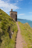 South west coast path near Porlock Somerset England UK old coastguard lookout tower at Hurlstone Point Royalty Free Stock Photos