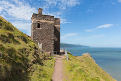 South west coast path near Porlock Somerset England UK old coastguard lookout tower at Hurlstone Point Stock Photography