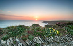 The South West Coast Path at Park Head. Sunset from the South West Coast Path at Park Head near Porthcothan on the north Cornwall coast Royalty Free Stock Photos