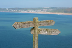 South west coast path sign to Woolacombe Devon England UK Royalty Free Stock Photos