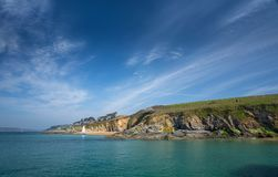 South West Coast Path, St Anthony, with view towards St Mawes Ca stock photography