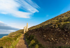 South west coast path and Towanroath shaft Engine House. Stock Photos