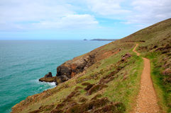 South west coast path towards Perranporth beach North Cornwall England UK HDR Royalty Free Stock Images