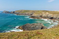 South West coast path view between Holywell bay and Perranporth Cornwall UK Royalty Free Stock Photos