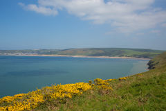 South west coast path view to Woolacome beach Devon England UK Stock Photography