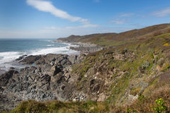 South West Coast Path view Woolacombe Devon towards Morte Point Stock Photo