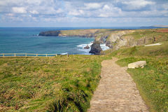 South West Coastal Path Bedruthan Steps Cornwall Royalty Free Stock Photo