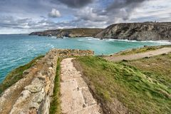 The south west coastal path in St Agnes Cornwall stock photo
