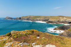 South West coastal path view between Holywell bay and Perranporth Cornwall UK Royalty Free Stock Photos