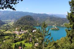 South west corner Lake Bled and church on island Royalty Free Stock Photography