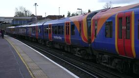 South Western Railway Train is Arriving to the Farnham Station in England I