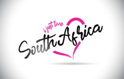 SouthAfrica I Just Love Word Text with Handwritten Font and Pink Heart Shape. Vector Illustration vector illustration