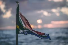 Southafrican Flag on a boat royalty free stock photo
