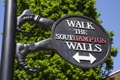 Southampton City Walls Sign Stock Photography