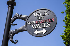 Southampton City Walls Sign. A sign in Southampton marking the route and location of the historic City Walls stock image